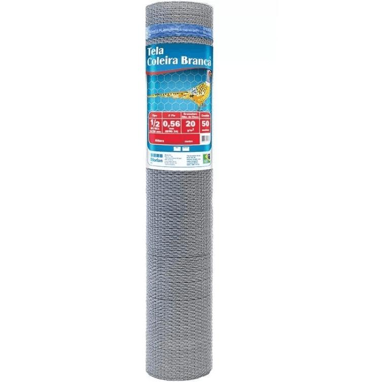 Tela para Viveiro Morlan Coleira Branca 1/2″ fio BWG 26 (0,46mm) - 0,60 x 50 - Cerca
