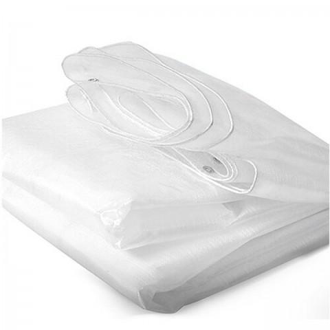 Lona Plástica Transparente 300 Micra com Ilhoses 8x8 de Ráfia Translúcida