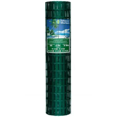 Tela Revestida PVC Morlan Soldada Segurança Tellacor fio 2,50mm - 1,50x25m - Malha 10x5cm